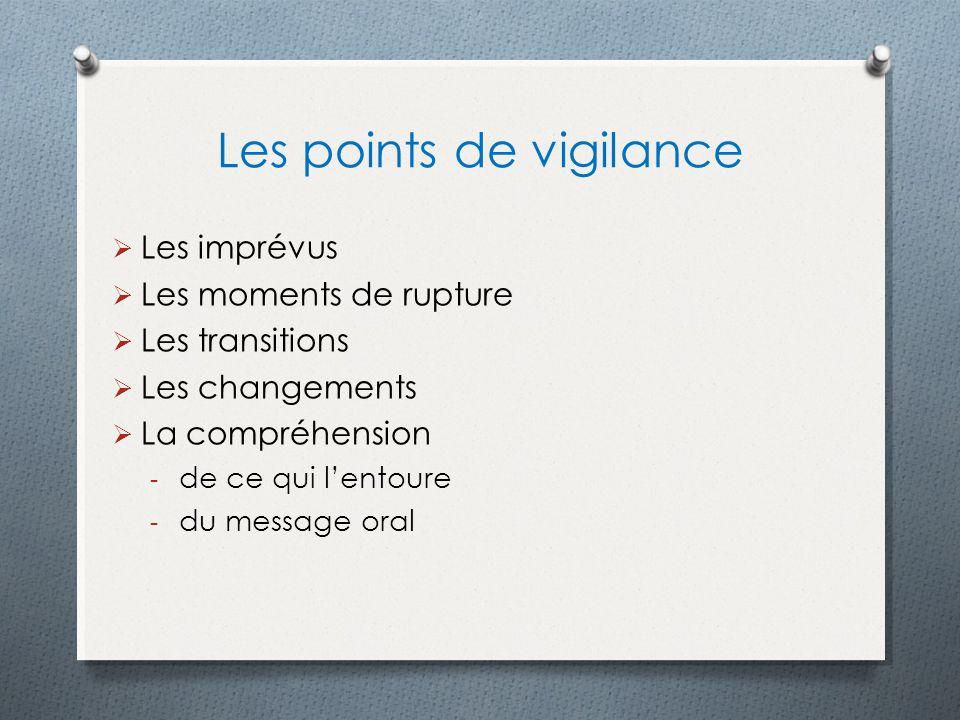 Les points de vigilance Les imprévus Les moments de rupture Les transitions Les changements La compréhension - de ce qui lentoure - du message oral