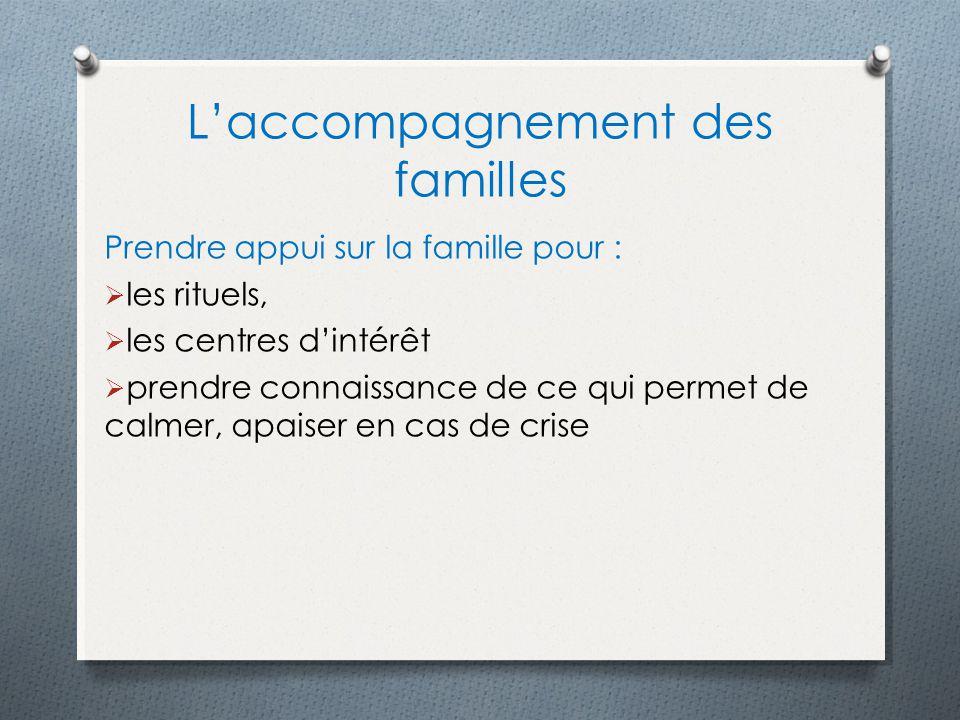Laccompagnement des familles Prendre appui sur la famille pour : les rituels, les centres dintérêt prendre connaissance de ce qui permet de calmer, apaiser en cas de crise