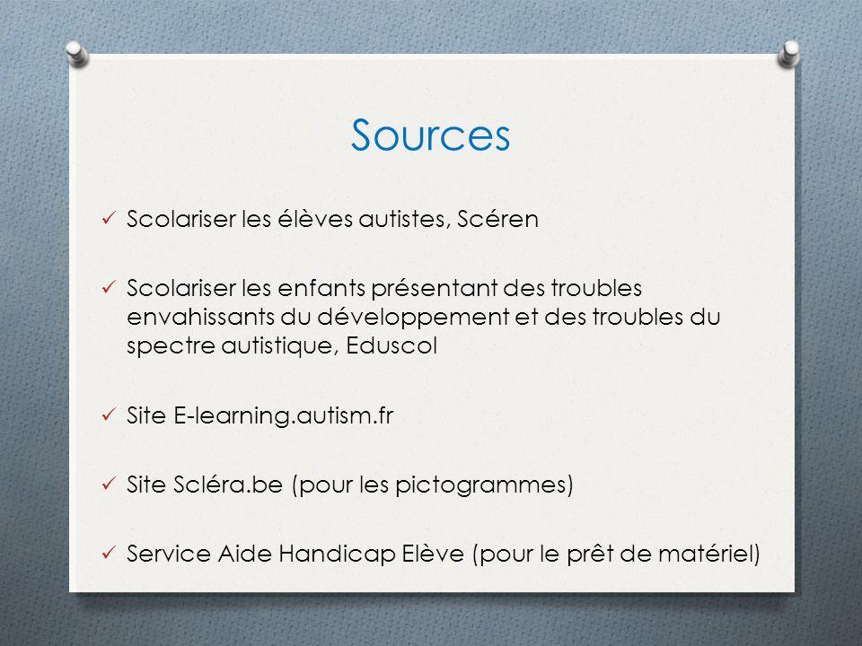 Sources Scolariser les élèves autistes, Scéren Scolariser les enfants présentant des troubles envahissants du développement et des troubles du spectre
