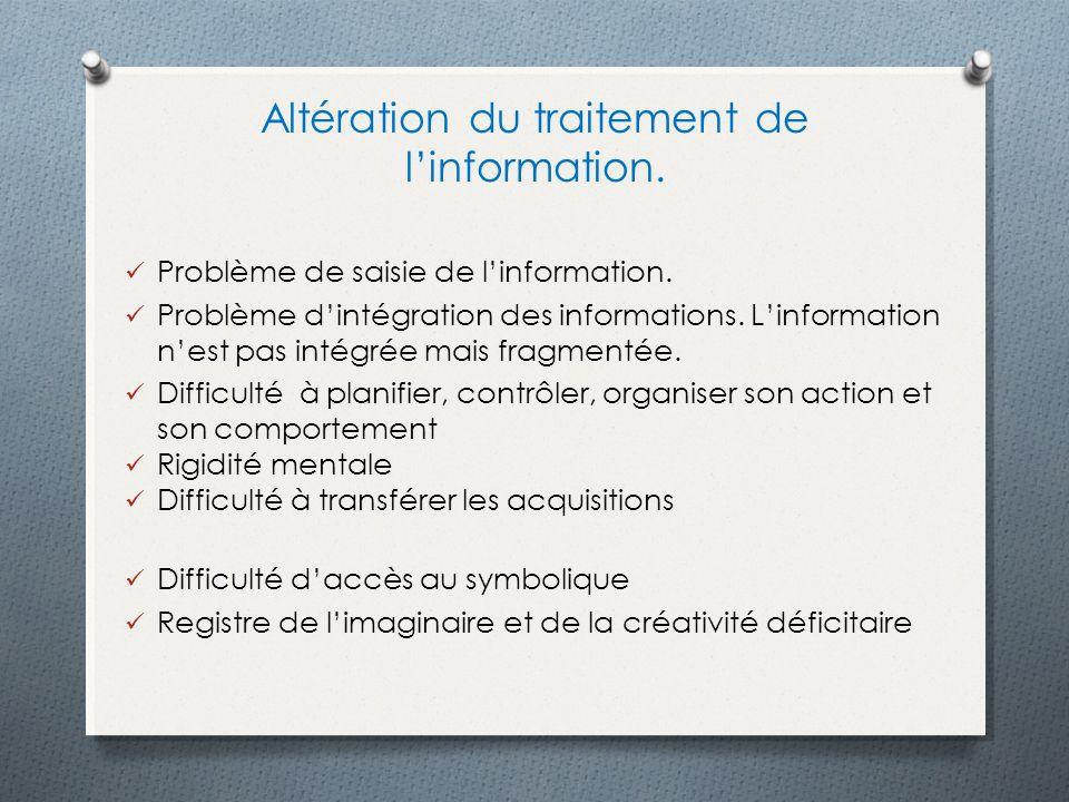 Altération du traitement de linformation. Problème de saisie de linformation. Problème dintégration des informations. Linformation nest pas intégrée m