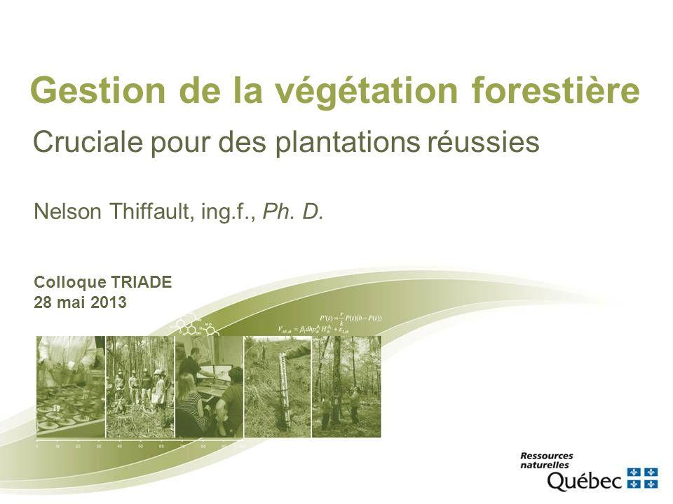 Gestion de la végétation forestière Cruciale pour des plantations réussies Nelson Thiffault, ing.f., Ph. D. Colloque TRIADE 28 mai 2013