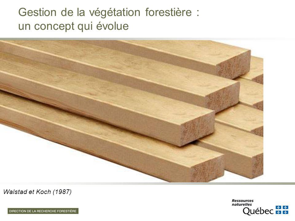 Adapté de Thiffault et Roy (2011) La gestion de la végétation doit être un engagement qui accompagne toute plantation Elle peut être modulée en fonction des objectifs de production, notamment ceux de productivité et de diversité