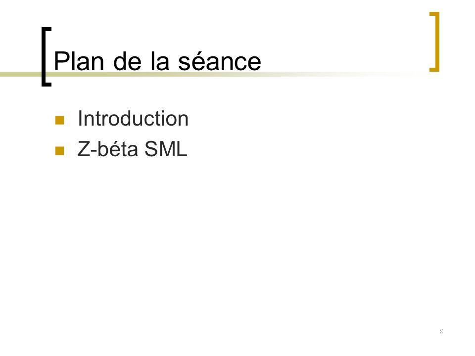 Plan de la séance Introduction Z-béta SML 2