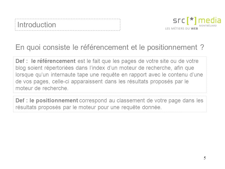 5 En quoi consiste le référencement et le positionnement ? Introduction Def : le référencement est le fait que les pages de votre site ou de votre blo