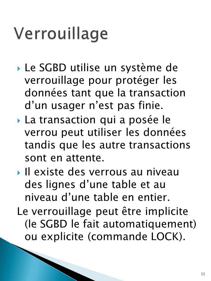 Le SGBD utilise un système de verrouillage pour protéger les données tant que la transaction dun usager nest pas finie. La transaction qui a posée le