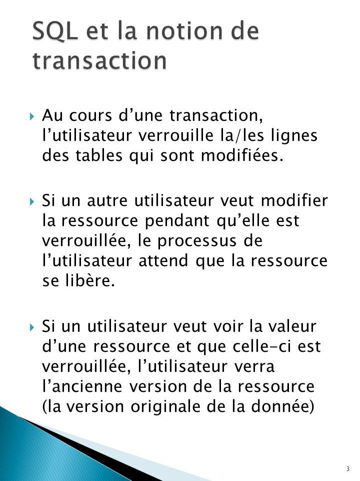 3 Au cours dune transaction, lutilisateur verrouille la/les lignes des tables qui sont modifiées. Si un autre utilisateur veut modifier la ressource p