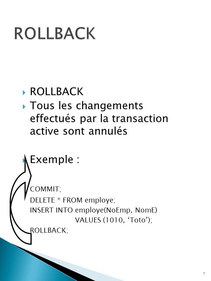 ROLLBACK Tous les changements effectués par la transaction active sont annulés Exemple : COMMIT; DELETE * FROM employe; INSERT INTO employe(NoEmp, Nom