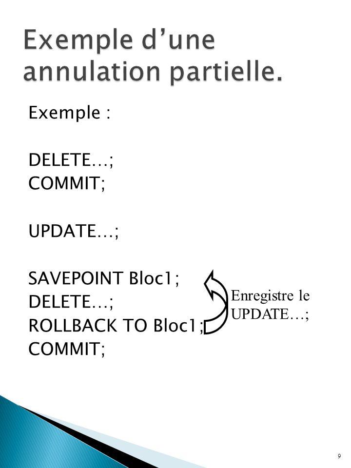 Exemple : DELETE…; COMMIT; UPDATE…; SAVEPOINT Bloc1; DELETE…; ROLLBACK TO Bloc1; COMMIT; 9 Enregistre le UPDATE…;