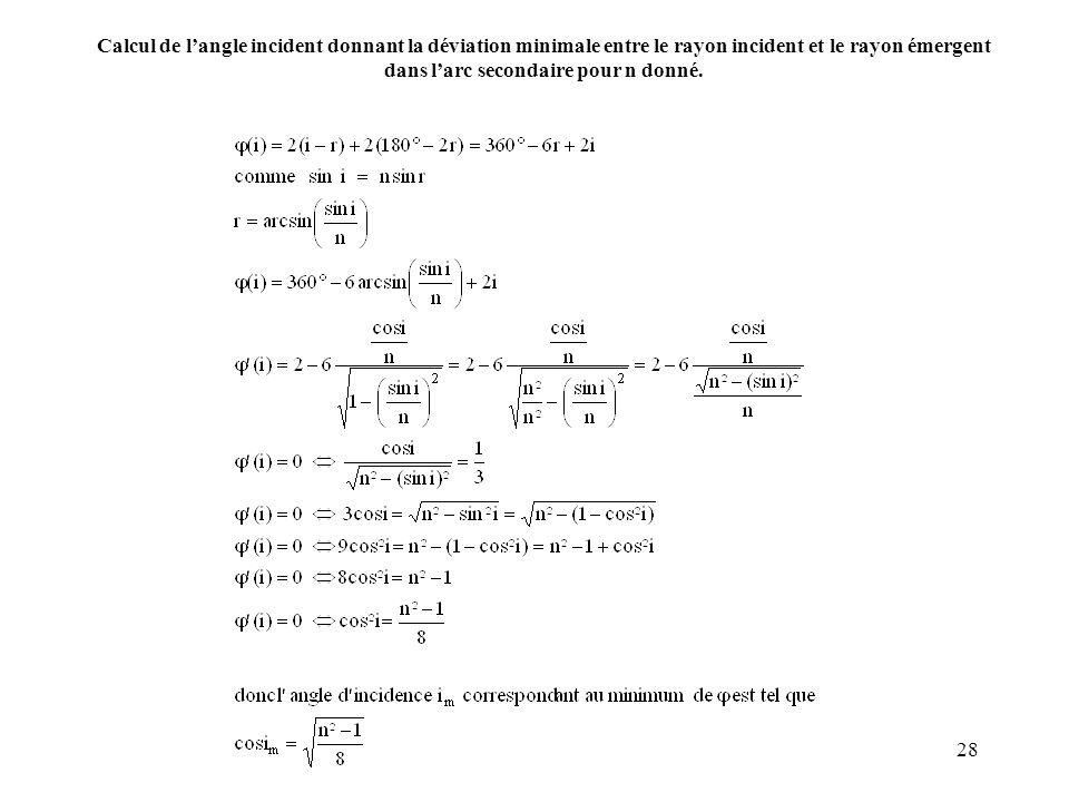 28 Calcul de langle incident donnant la déviation minimale entre le rayon incident et le rayon émergent dans larc secondaire pour n donné.