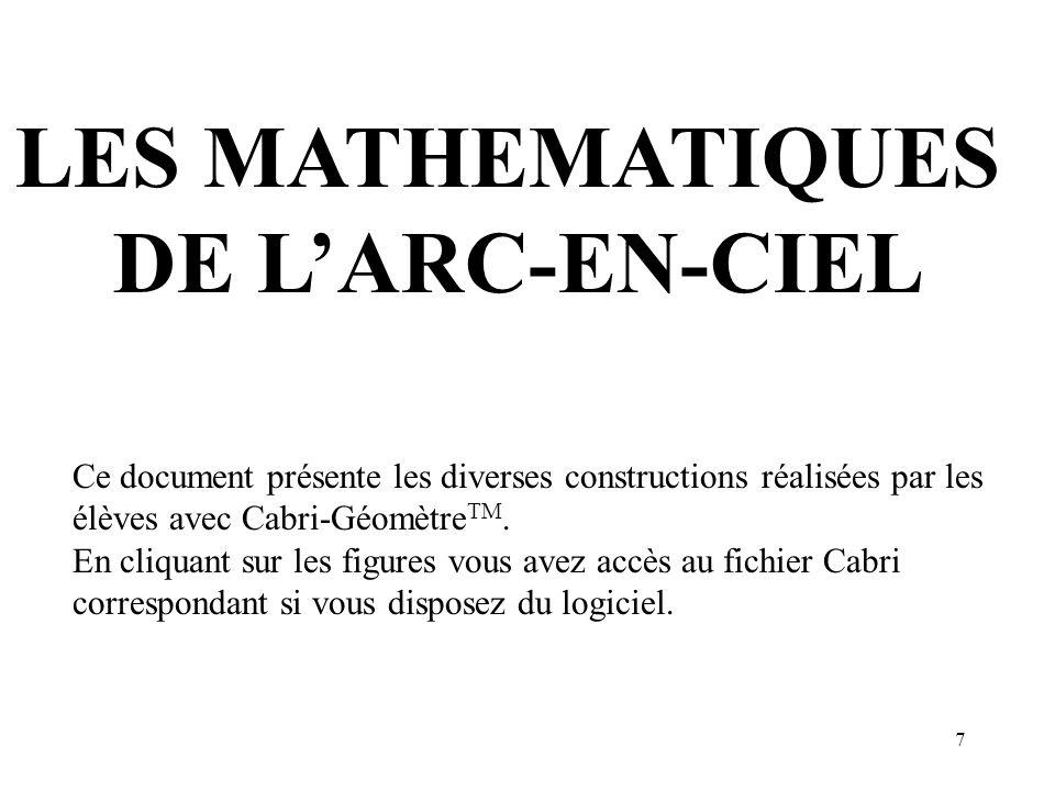 7 LES MATHEMATIQUES DE LARC-EN-CIEL Ce document présente les diverses constructions réalisées par les élèves avec Cabri-Géomètre TM. En cliquant sur l