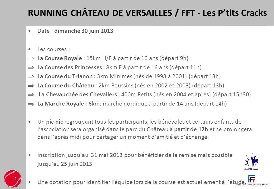 RUNNING CHÂTEAU DE VERSAILLES / FFT - Les Ptits Cracks 4 Date : dimanche 30 juin 2013 Les courses : La Course Royale : 15km H/F à partir de 16 ans (dé