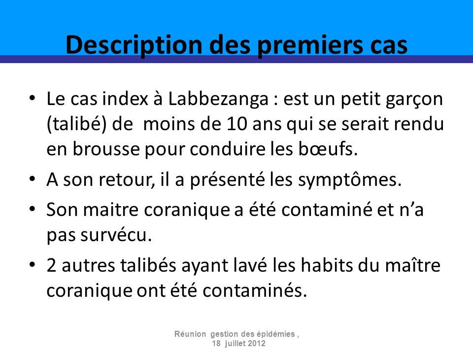 Description des premiers cas Le cas index à Labbezanga : est un petit garçon (talibé) de moins de 10 ans qui se serait rendu en brousse pour conduire les bœufs.