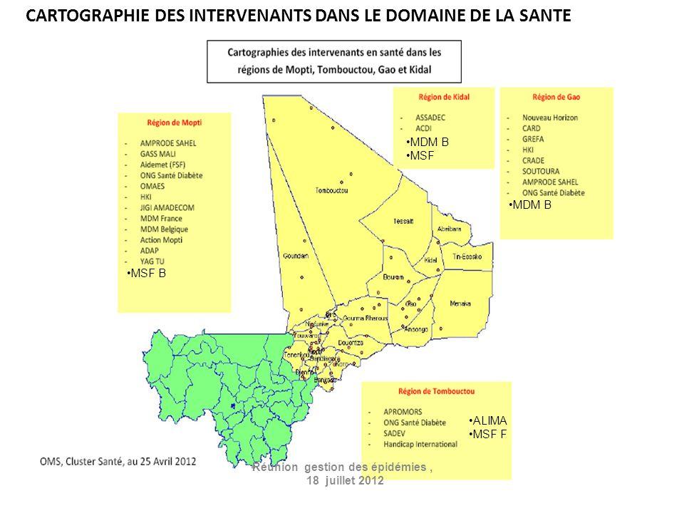 CARTOGRAPHIE DES INTERVENANTS DANS LE DOMAINE DE LA SANTE Réunion gestion des épidémies, 18 juillet 2012 MDM B MSF MDM B ALIMA MSF F MSF B