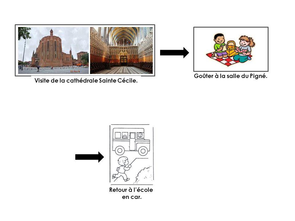 Visite de la cathédrale Sainte Cécile. Goûter à la salle du Pigné. Retour à lécole en car.