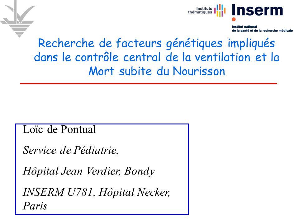Loïc de Pontual Service de Pédiatrie, Hôpital Jean Verdier, Bondy INSERM U781, Hôpital Necker, Paris Recherche de facteurs génétiques impliqués dans l