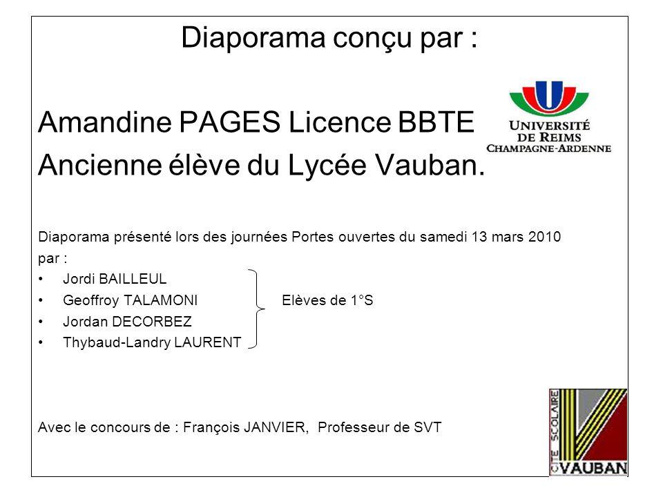 Diaporama conçu par : Amandine PAGES Licence BBTE Ancienne élève du Lycée Vauban. Diaporama présenté lors des journées Portes ouvertes du samedi 13 ma