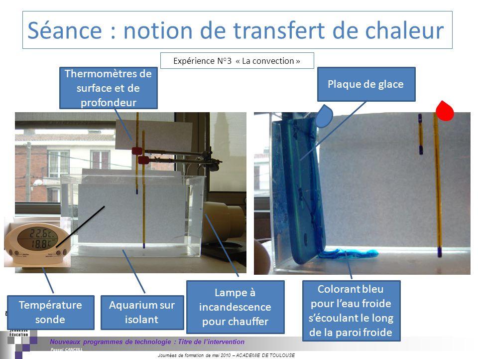 Journées de formation de mai 2010 – ACADEMIE DE TOULOUSE Nouveaux programmes de technologie : Titre de lintervention Pascal CANCEILL Exp é rience N°3