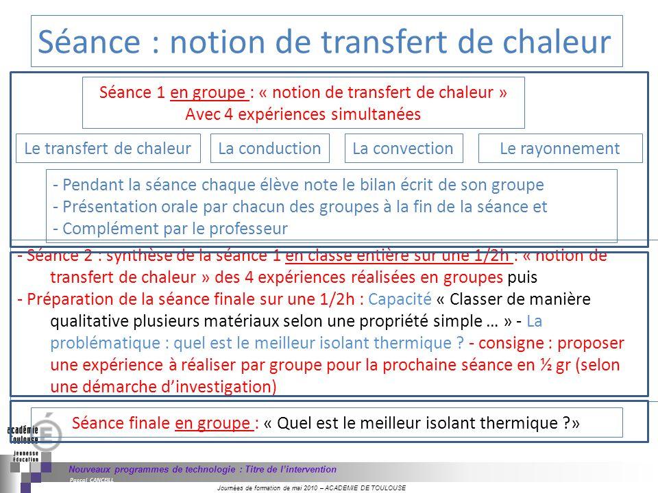 Journées de formation de mai 2010 – ACADEMIE DE TOULOUSE Nouveaux programmes de technologie : Titre de lintervention Pascal CANCEILL Séance 1 en group