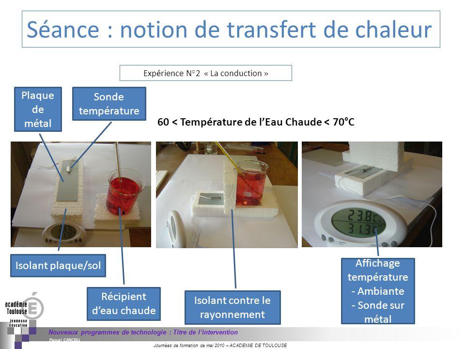 Journées de formation de mai 2010 – ACADEMIE DE TOULOUSE Nouveaux programmes de technologie : Titre de lintervention Pascal CANCEILL 60 < Température