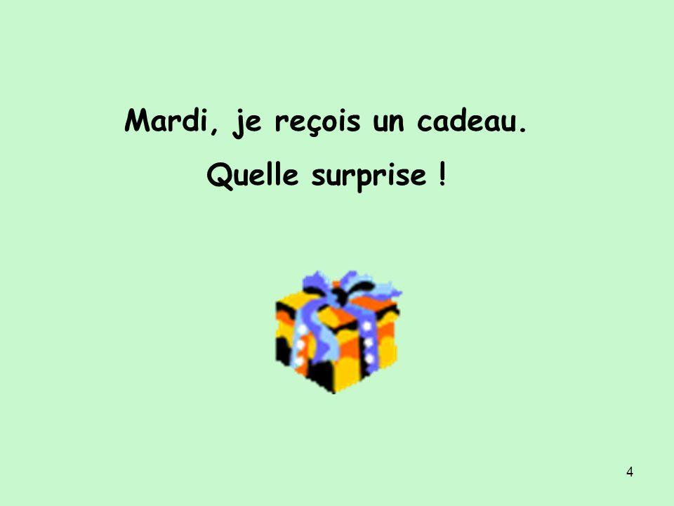 4 Mardi, je reçois un cadeau. Quelle surprise !