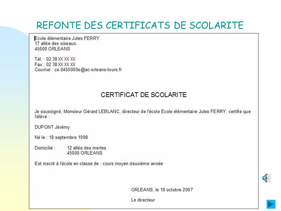 REFONTE DES CERTIFICATS DE RADIATION