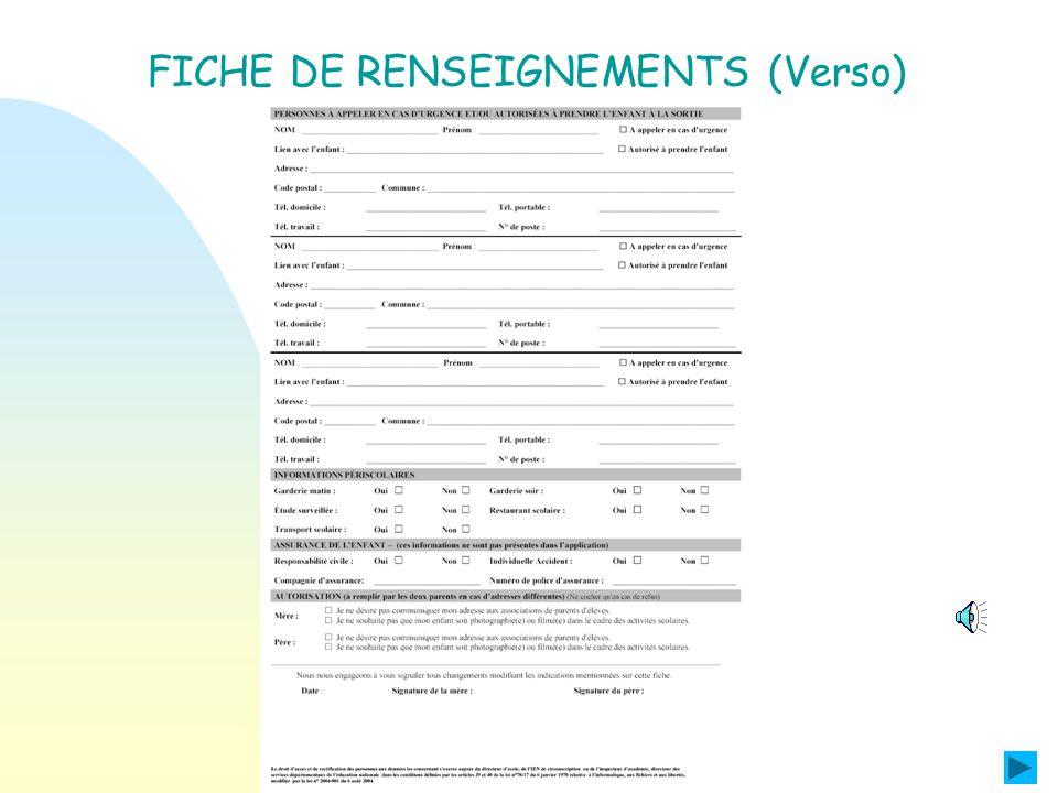 FICHE DE RENSEIGNEMENTS (Recto)
