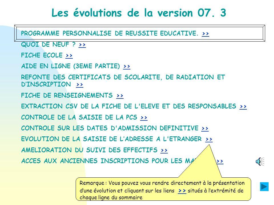 PROGRAMME PERSONNALISE DE REUSSITE EDUCATIVE.>>>> QUOI DE NEUF .