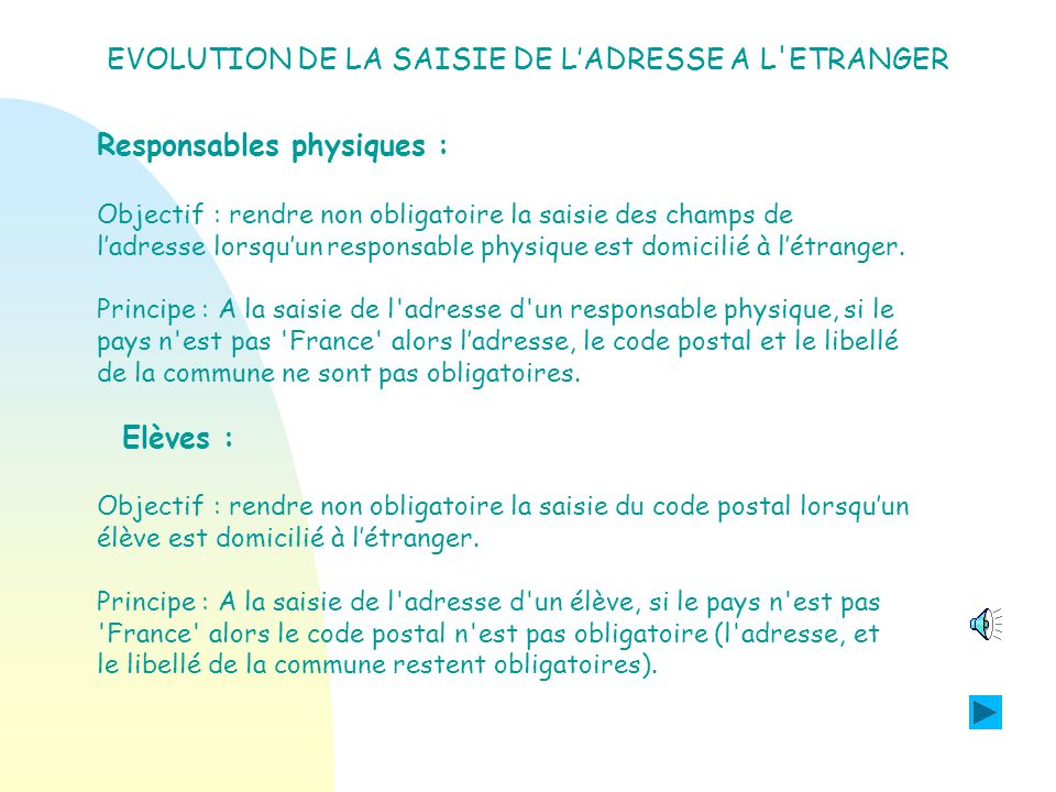 Les évolutions de la version 07.3 PROGRAMME PERSONNALISE DE REUSSITE EDUCATIVE.