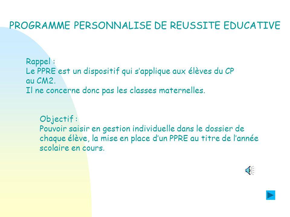PROGRAMME PERSONNALISE DE REUSSITE EDUCATIVE. >>>> QUOI DE NEUF .