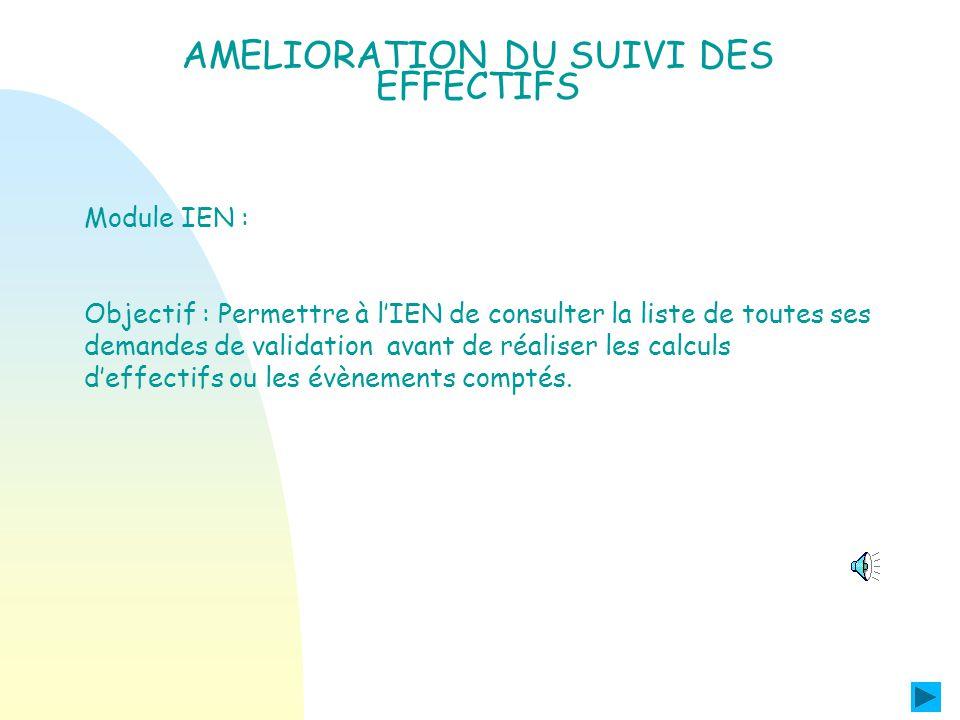 Module Directeur AMELIORATION DU SUIVI DES EFFECTIFS Le directeur peut consulter la liste de toutes les demandes de validation lancées par l IEN ou l IA dont la date limite de validation nest pas échue.