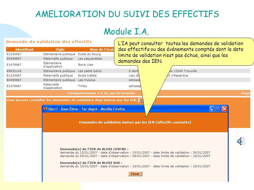 AMELIORATION DU SUIVI DES EFFECTIFS Module IA : Objectif : Permettre à lIA de consulter la liste de toutes les demandes de validation émises par les I