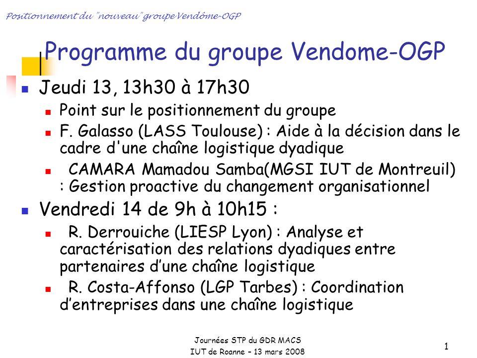 Journées STP du GDR MACS IUT de Roanne – 13 mars 2008 Positionnement du nouveau groupe Vendôme-OGP 1 Programme du groupe Vendome-OGP Jeudi 13, 13h30 à 17h30 Point sur le positionnement du groupe F.
