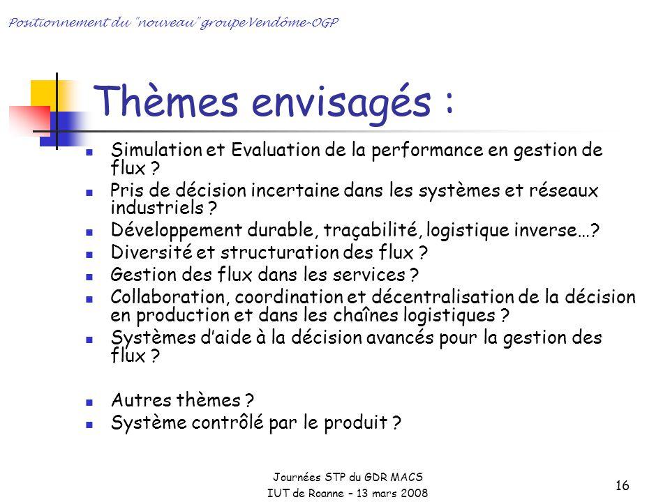 Journées STP du GDR MACS IUT de Roanne – 13 mars 2008 Positionnement du nouveau groupe Vendôme-OGP 16 Thèmes envisagés : Simulation et Evaluation de la performance en gestion de flux .