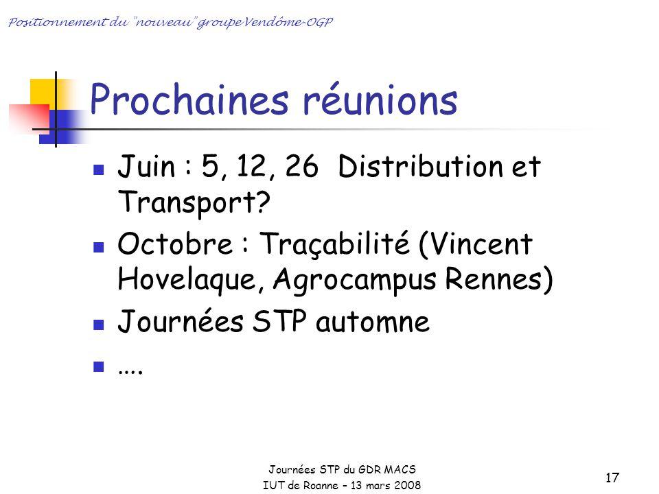 Journées STP du GDR MACS IUT de Roanne – 13 mars 2008 Positionnement du nouveau groupe Vendôme-OGP 17 Prochaines réunions Juin : 5, 12, 26 Distribution et Transport.