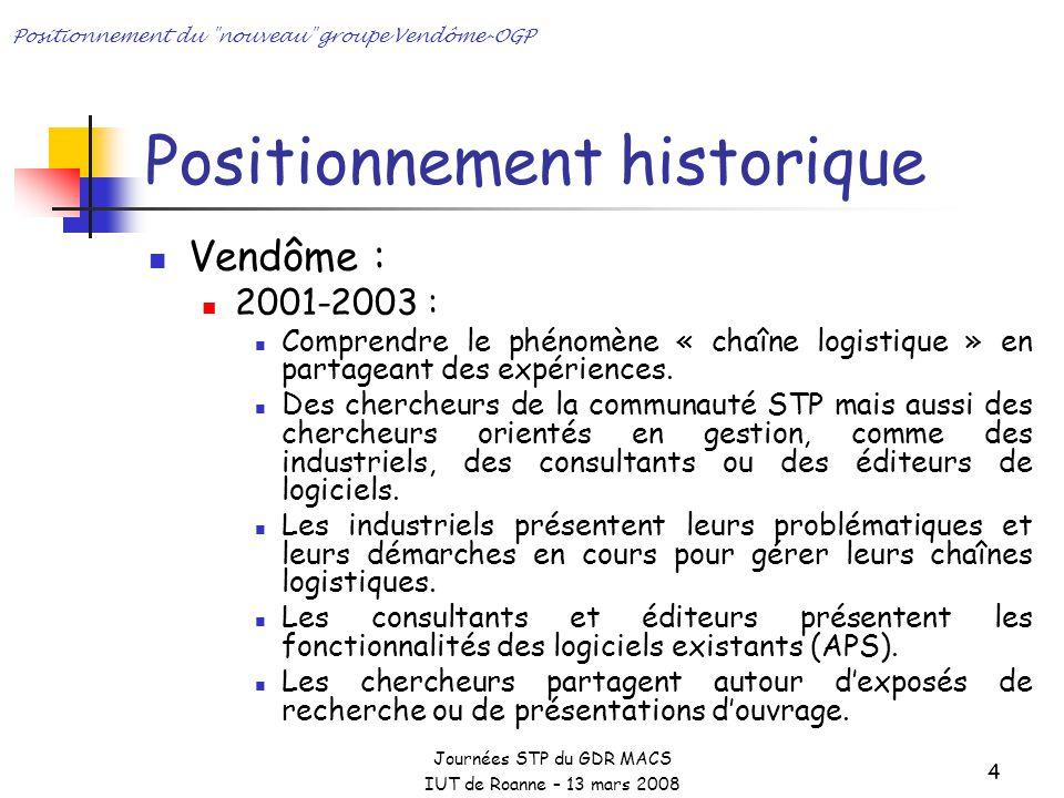 Journées STP du GDR MACS IUT de Roanne – 13 mars 2008 Positionnement du nouveau groupe Vendôme-OGP 4 Positionnement historique Vendôme : 2001-2003 : Comprendre le phénomène « chaîne logistique » en partageant des expériences.