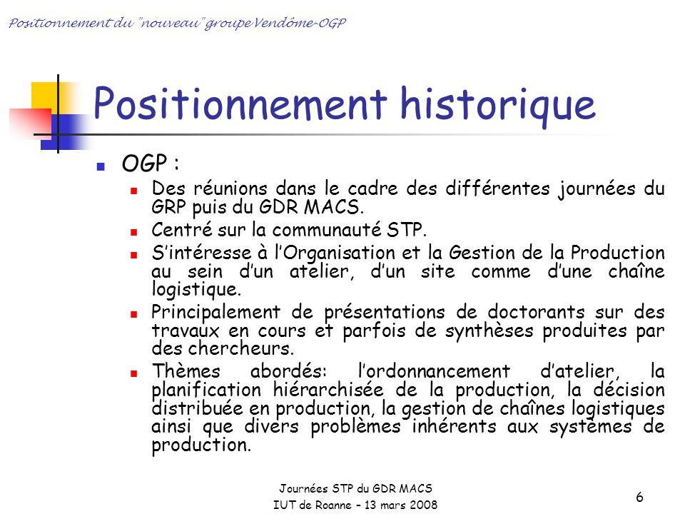 Journées STP du GDR MACS IUT de Roanne – 13 mars 2008 Positionnement du nouveau groupe Vendôme-OGP 6 Positionnement historique OGP : Des réunions dans le cadre des différentes journées du GRP puis du GDR MACS.