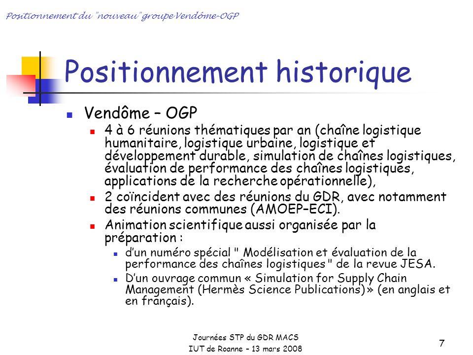 Journées STP du GDR MACS IUT de Roanne – 13 mars 2008 Positionnement du nouveau groupe Vendôme-OGP 8 Positionnement historique : les retombées 3 Ouvrages Ss la direction de C.