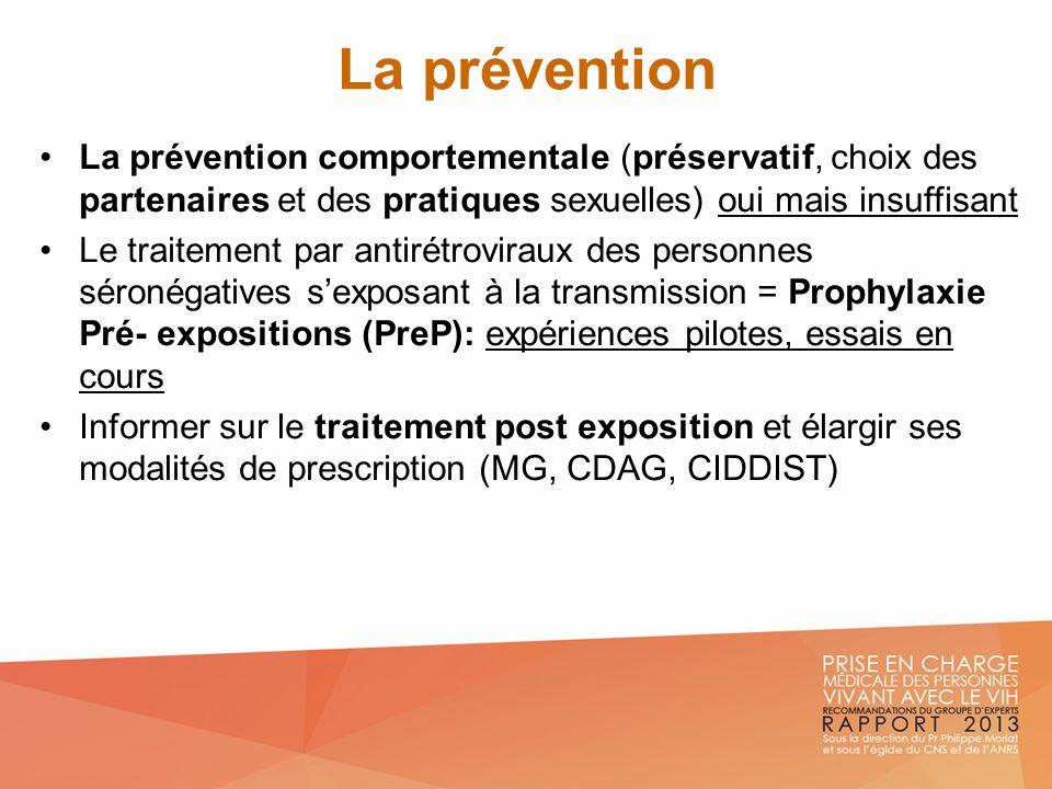 La prévention La prévention comportementale (préservatif, choix des partenaires et des pratiques sexuelles) oui mais insuffisant Le traitement par ant