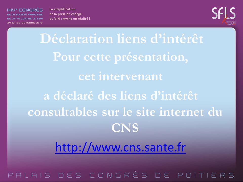 Pour cette présentation, cet intervenant a déclaré des liens dintérêt consultables sur le site internet du CNS http://www.cns.sante.fr Déclaration lie