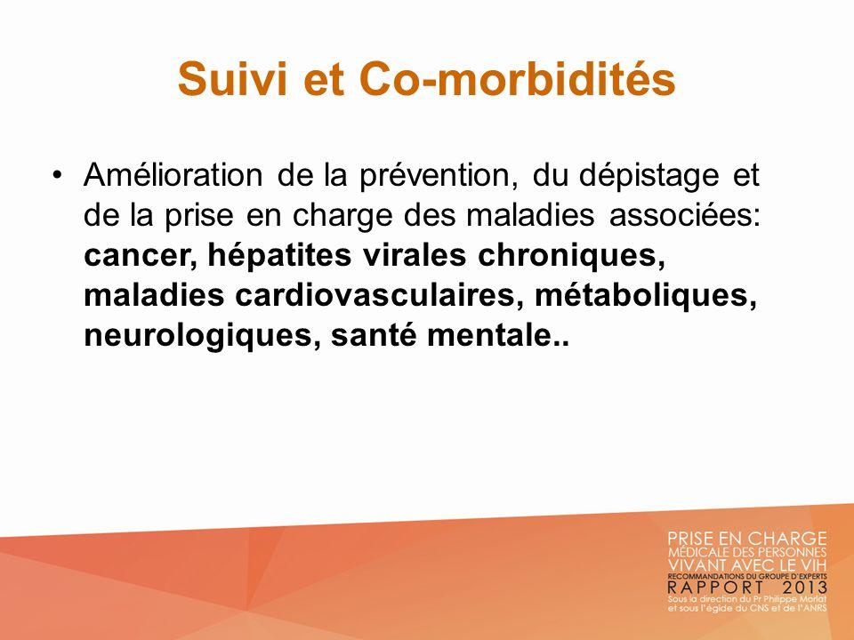 Suivi et Co-morbidités Amélioration de la prévention, du dépistage et de la prise en charge des maladies associées: cancer, hépatites virales chroniqu