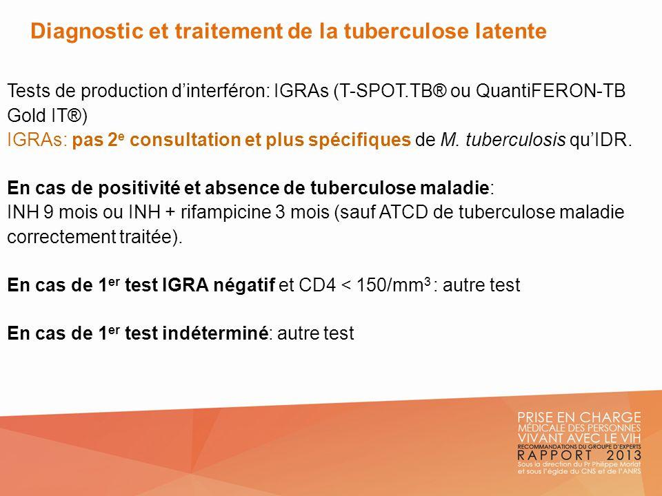 Diagnostic et traitement de la tuberculose latente Tests de production dinterféron: IGRAs (T-SPOT.TB® ou QuantiFERON-TB Gold IT®) IGRAs: pas 2 e consu