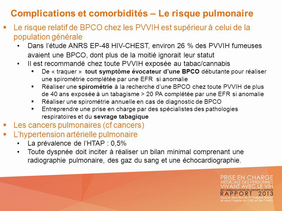 Complications et comorbidités – Le risque pulmonaire Le risque relatif de BPCO chez les PVVIH est supérieur à celui de la population générale Dans lét