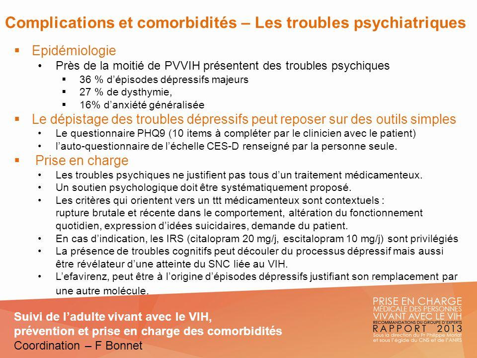 Complications et comorbidités – Les troubles psychiatriques Epidémiologie Près de la moitié de PVVIH présentent des troubles psychiques 36 % dépisodes