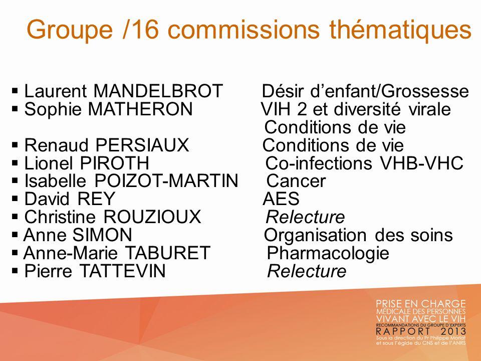 Laurent MANDELBROT Désir denfant/Grossesse Sophie MATHERON VIH 2 et diversité virale Conditions de vie Renaud PERSIAUX Conditions de vie Lionel PIROTH