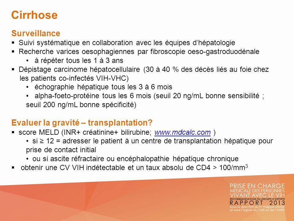 Cirrhose Surveillance Suivi systématique en collaboration avec les équipes dhépatologie Recherche varices oesophagiennes par fibroscopie oeso-gastrodu