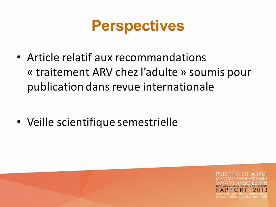 Perspectives Article relatif aux recommandations « traitement ARV chez ladulte » soumis pour publication dans revue internationale Veille scientifique
