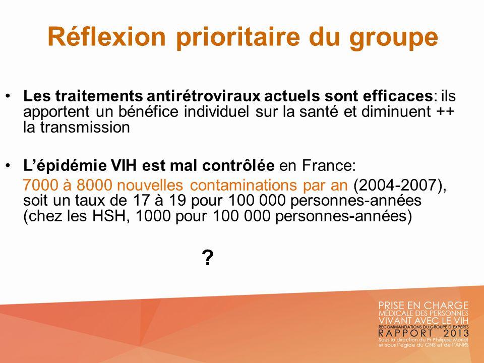 Réflexion prioritaire du groupe Les traitements antirétroviraux actuels sont efficaces: ils apportent un bénéfice individuel sur la santé et diminuent