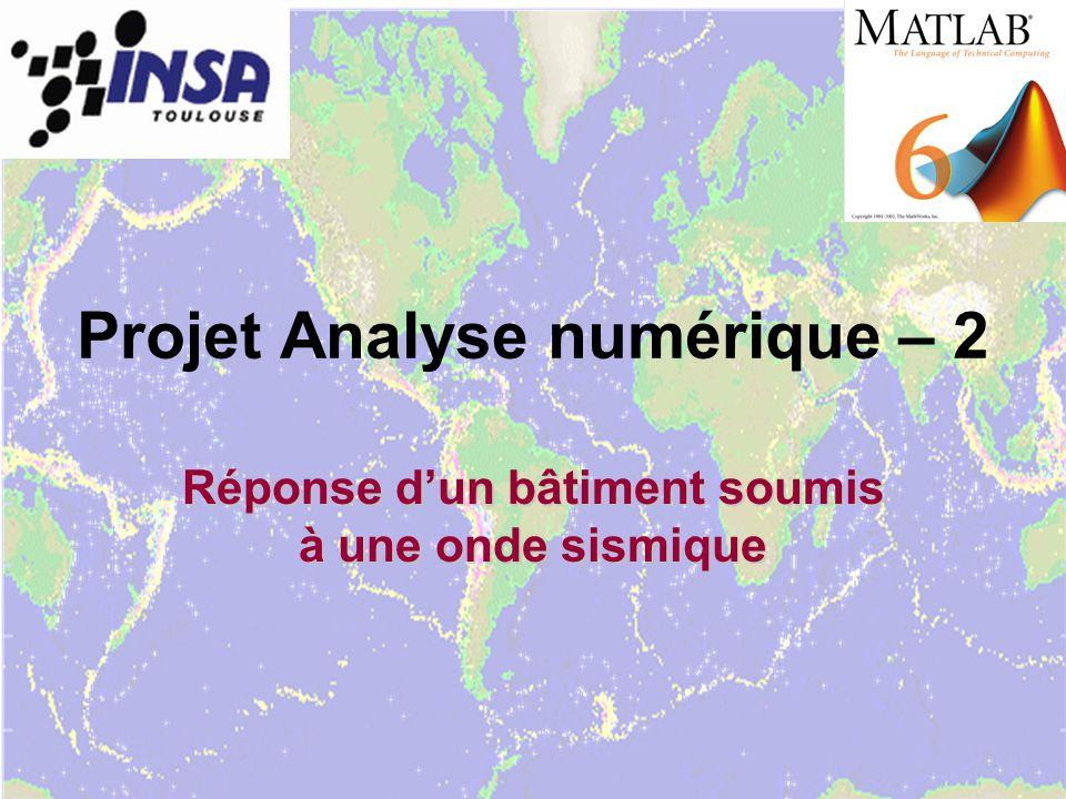 Projet Analyse numérique – 2 Réponse dun bâtiment soumis à une onde sismique
