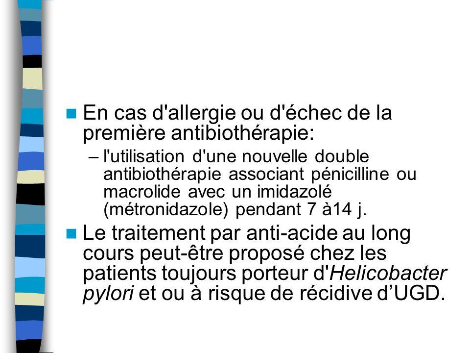 En cas d'allergie ou d'échec de la première antibiothérapie: –l'utilisation d'une nouvelle double antibiothérapie associant pénicilline ou macrolide a