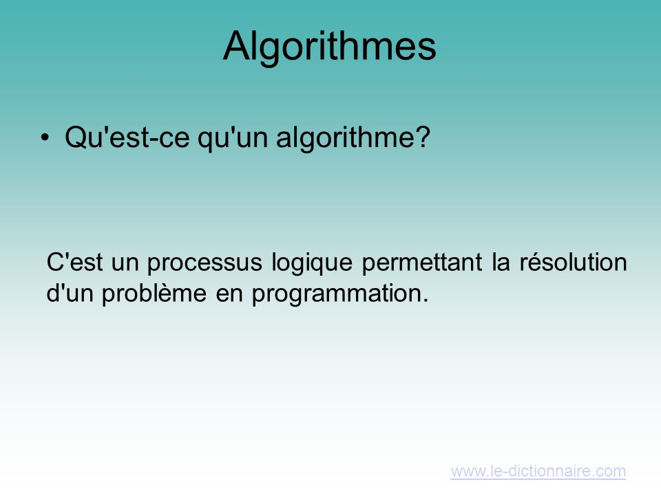 Algorithmes Qu est-ce qu un algorithme.